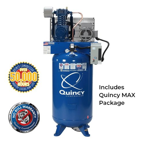 Quincy QT Max Series 5HP, 80-Gallon 1-Phase 2-Stage Air Compressor with Magnetic Starter | PMC Woodworking Machinery & Tools | Hammond, LA