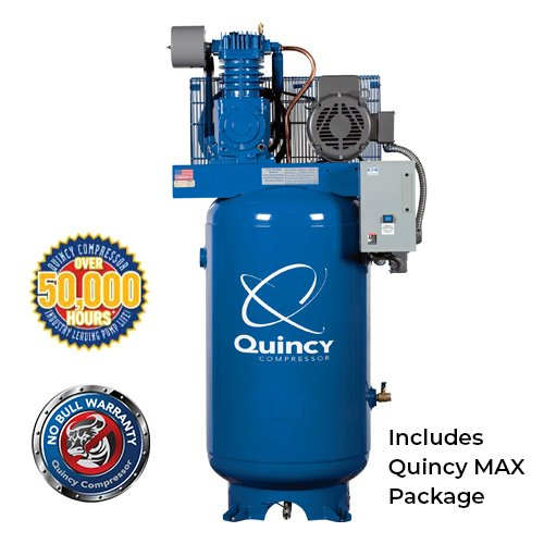 Quincy QT Max Series 7.5HP, 80-Gallon, 1-Phase 2-Stage Air Compressor with Magnetic Starter | PMC Woodworking Machinery & Tools | Hammond, LA